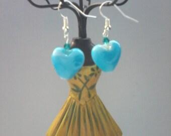 Light Blue Heart Glass Earrings