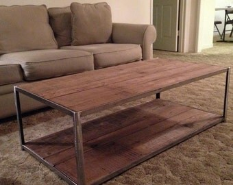 Custom Reclaimed Wood Coffee Table with Top and Bottom Shelf