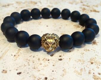 Gold lion bracelet,onyx and gold lion bracelet,onyx man bracelet,onyx gold lion stretch bracelet,mans onyx and gold lion bracelet,golden lio