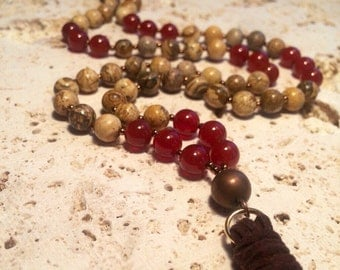 Jasper Tassel Necklace,stone necklace with leather tassel,mala jasper tassel necklace,yoga tassel necklace,red onyx tassel necklace,onyx and