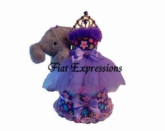 Princess Garden Purple Tutu 3 Tier Diaper Cake Baby Shower Gift & Baby Shower Table Centerpiece