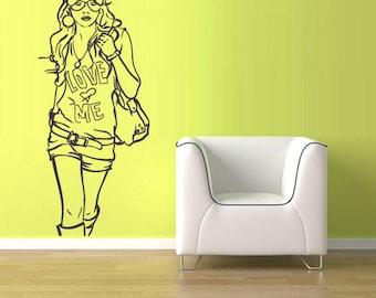 rvz1274 Wall Vinyl Sticker Decals Decor Girl Teenager Love Me Bag