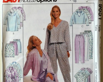 Uncut 1990s McCall's Vintage Sewing Pattern 9651, Size L, XL; Misses' Robe, Nightgown, Top in Two Lengths, Pull-On Pants or Shorts