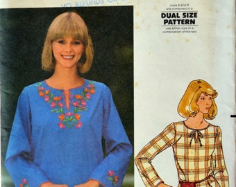Uncut 1970s Butterick Vintage Sewing Pattern 5265, Size 12; Misses' Blouse and Embroidery Transfer