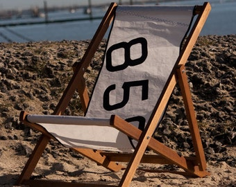 Personalised Deck Chair with Recycled Sail cloth Sling