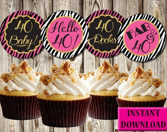 40th Birthday Cupcake Toppers, Pink Zebra, Black and Gold, Labels, Party Favors, Printable, Instant Download, PDF
