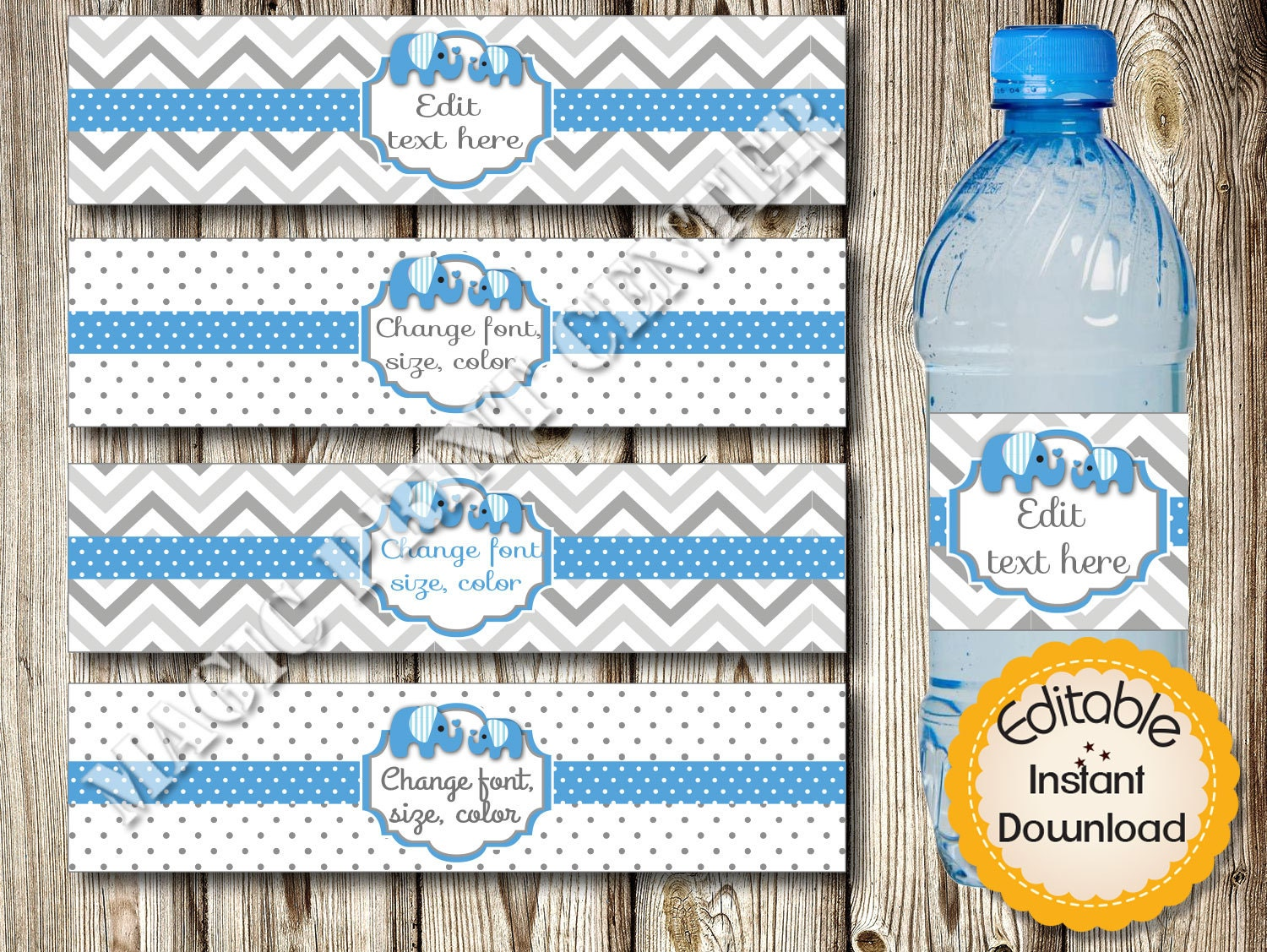 editable water bottle labels baby shower birthday blue