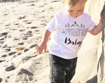 ADVENTURE BABY/ Baby Tee/ Baby Bodysuit/ Mountainous/ Rustic Apparel/ Baby Shower/ Mountains