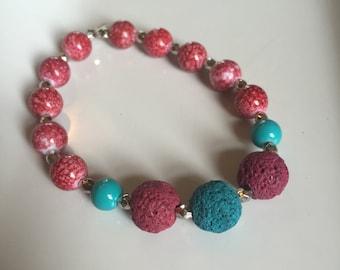 Essential oil diffuser bracelet in Teal, magenta,