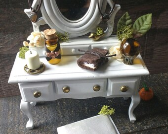 Miniature white dresser & stool