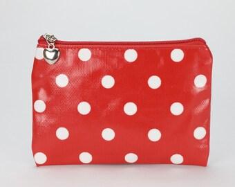 Oilcloth Zip Pouch wallet- Polka dot- Passport case- Oil cloth zip purse- Cotton Coin purse- Ladies purse - Woman wallet- Travel card holder