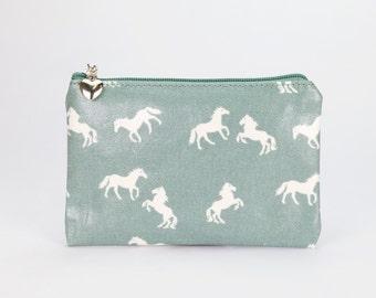 Oilcloth Zip Pouch wallet - Horse print - Passport case - Oil cloth zip Cotton Coin purse - Ladies purse - Woman wallet- Travel card holder