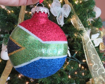 South African Flag Plastic Christmas Ornament