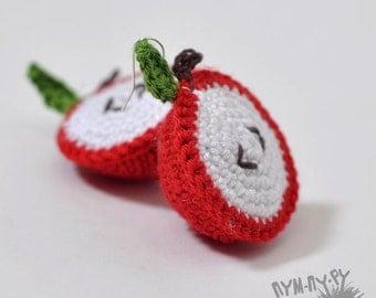 SALE!!! Crochet earrings apples,knit earrings,lightweight knitted earrings,bijouterie,Eco Friendly Earrings, Knitted jewelry