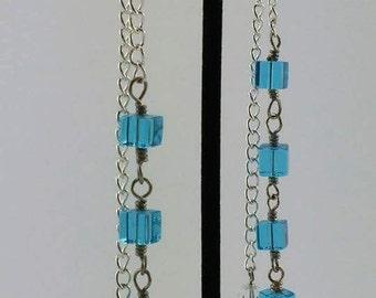 Aqua bead cascading earrings
