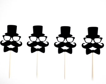 Mustache cupcake toppers, set of 12 cupcake toppers