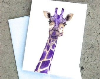 Purple Giraffe Card