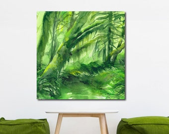 Mossy Forest, Tropical Watercolor Gallery-Wrapped Canvas