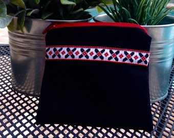 Small Black and Red Trimmed Card Holder / Coin Purse