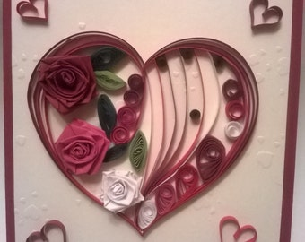Greeting Quilled Valentine Day Card, Quilled Valentine Card, Handmade Love Card, Love Card, Valentine's Day Card, Valentine Card, Hearts