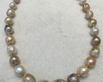Large natural colored baroque pearl necklace