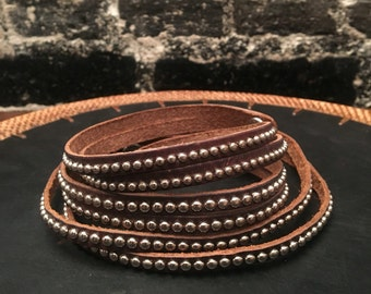 Brown leather studded chocker (double strapped)