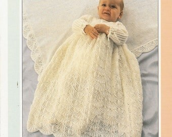 Vintage Argyll 995 Knitting Pattern for a Baby Christening Dress and Shawl