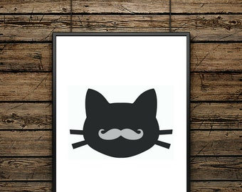 "Illustration Poster ""Hipster Cat"" - Scandinavian Style - Wall decoration - typographic design - Ideal for Gift"
