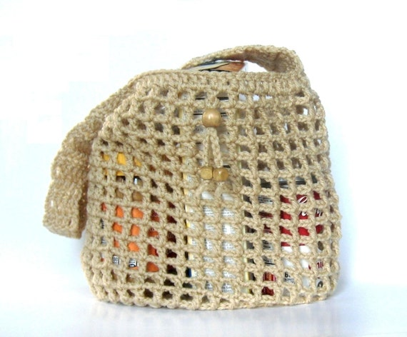 Crochet Mesh Bag Pattern : Light Beige Crochet Mesh Market Bag Beach Bag Eco Friendly Grocery Bag ...