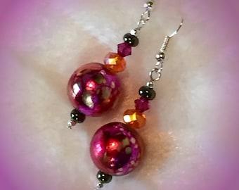 festive. Pink Orange crystal earrings Colorful Tie Dye earrings Fuschia Tangerine Batik style earrings Handmade earrings