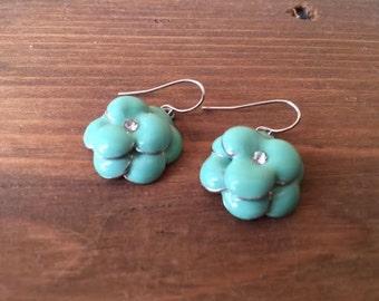 Teal Flower Vintage Earrings