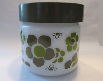 Vintage Avocado Green Kitchen Canisters Floral pattern