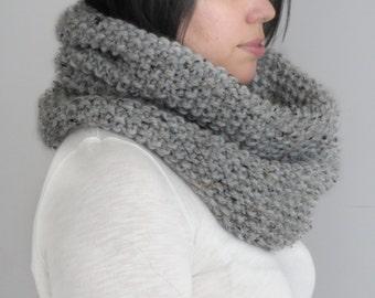Grey Knit Cowl Scarf