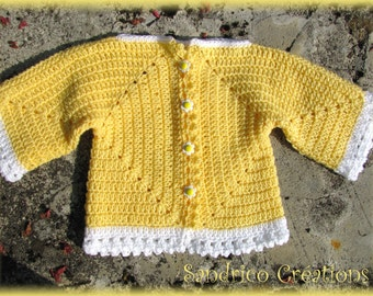 Cardigan wool knitted hand yellow white crochet baby 24 months little flower