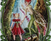 Come away o human child fairy goblin woodland fantasy postcard with poem on the back