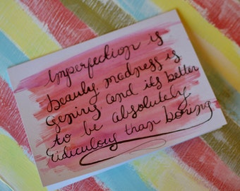 Marilyn Monroe Quote Inspired Greeting Card - Handmade Watercolor Card - Blank Inside - Any Occasion