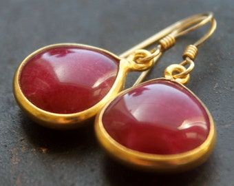 Ruby 14k Gold Filled dangle Earrings- Handmade, semiprecious,holidays,