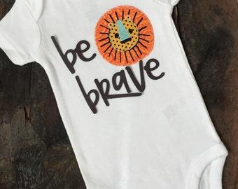 Funny Lion Onesie-Custom Onesie-Lion Onsie-Custom bodysuit-Baby boy onesie-Be Brave-Monogrammed-Baby shower gift-Newborn gift-Modern-Boy