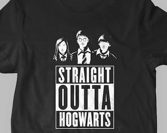 New Straight Outta Hogwarts Funny Compton Potter Shirt Wizard Fine Cotton Jersey Mens and Ladies Womens T-Shirt Unisex Adult Sizes