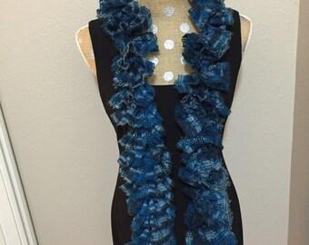 Blue ruffle warm scarf