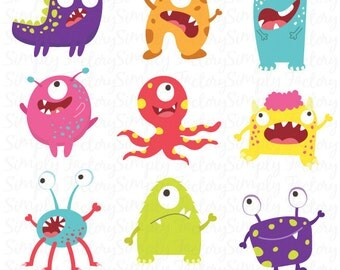Litter Monsters Clip art Set,Funny monster,Litter monster,Monster theme,Perfect for cards, invitations, scrapbooking and paper crafts Ms002