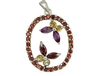 Lovely pendant in 925 sterling silver plated with rhodium set with fine natural stones depicting a garden with 2 butterflies