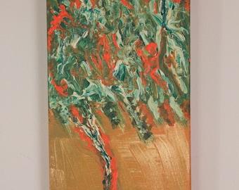 Autumnal Essence - abstract painting on canvas 30cmx15cmx3.5cm