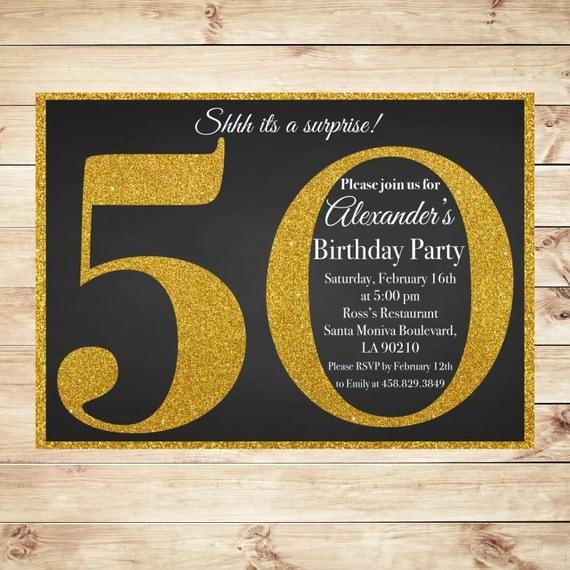 Black & Gold Milestone 50th Surprise By DIYPartyInvitation