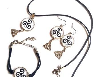 jewelry bag, key ring, cabochon, brittany, breizh, triskel, celtic