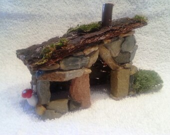 Fairy House  - Shepherd's Fairy House Move in ready Handmade rock, bark