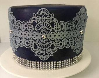 2x Edible Sugar Lace, Edible Lace, Cake Lace  Applique (FREE SHIPPING)