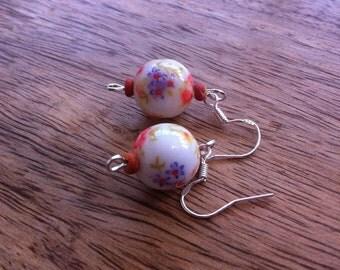 floral bead earrings peach