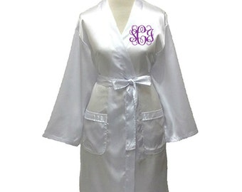 Set of your Choice Monogram Satin Robe, Personalized Bridesmaid Robes, Bridal Party, Wedding, Maid of Honor, Gift Short Satin Robe for Women