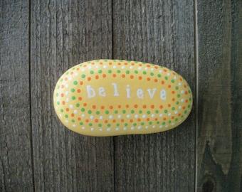 Believe Inspirational Stone, Bible Verse Stone, Christian Gifts, Prayer Stone, Meditation Stone, Painted Rocks, Believe, Gift Ideas